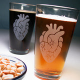 2 Anatomical Heart Pint Glasses