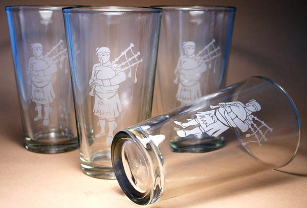 custom bagpiper pint glasses by Bread and Badger