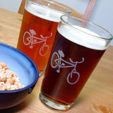 2 bicycle pint glasses