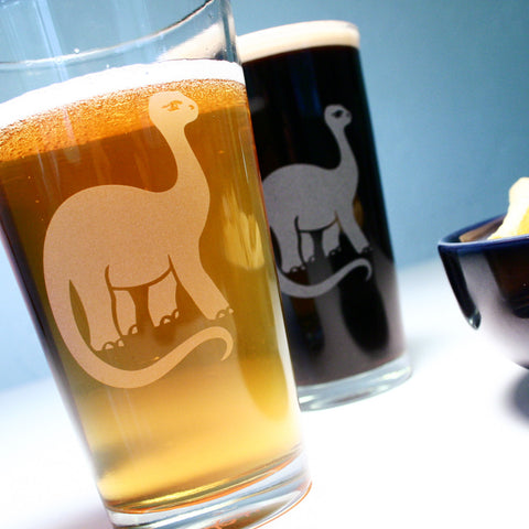 Brontosaurus Dinosaur Pint Glass