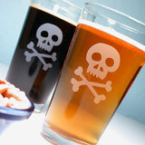 pirate skull etched beer glasses
