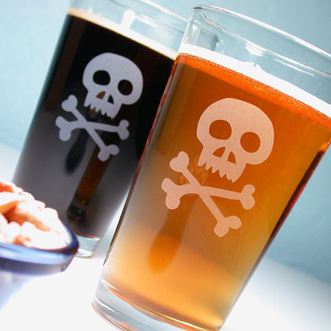 Skull and Bones Pint Glass