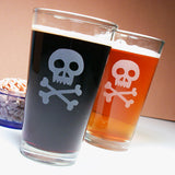 skull and bones pint glasses