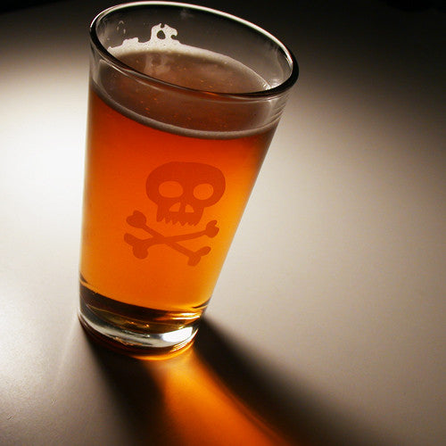 skull and crossbones pint glass