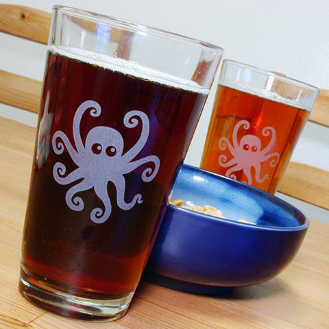 octopus pint glasses