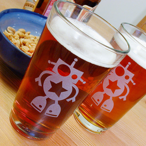 robot 16oz pint glasses