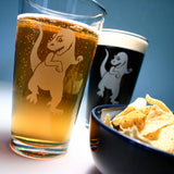 t-rex dinosaur pint glasses