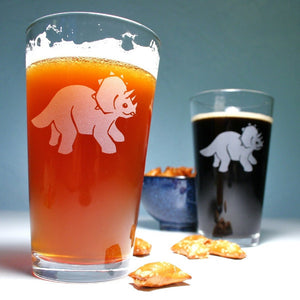 Triceratops dinosaur pint glasses