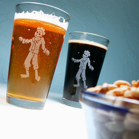 zombie etched beer glasses