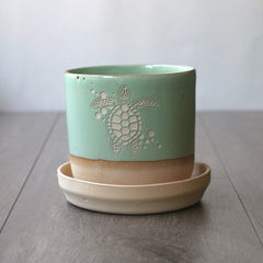 small seafoam green sea turtle planter