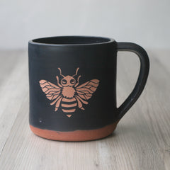 Bee Mug, Farmhouse Style Handmade Pottery