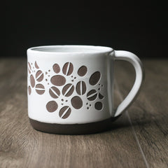 Coffee Beans Mug, Farmhouse Style Handmade Pottery