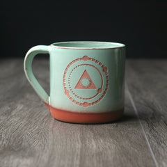 Deep Breath Meditation Mug, Farmhouse Style Handmade Pottery