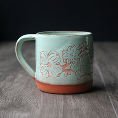 Dogwood Mug, Farmhouse Style Handmade Pottery
