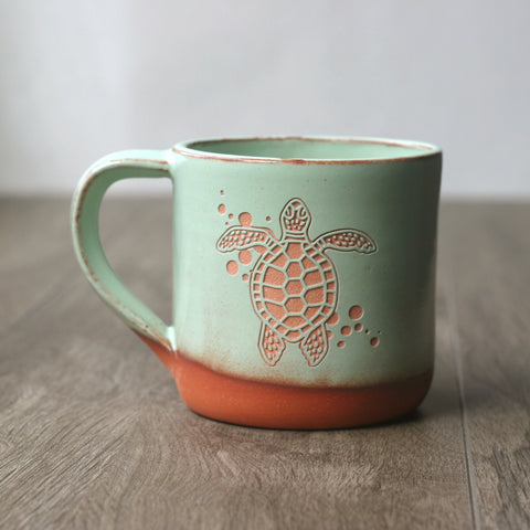 Turtle Mug, Farmhouse Style Handmade Pottery