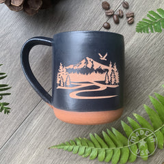 Mount Hood Mug, Farmhouse Style Handmade Pottery