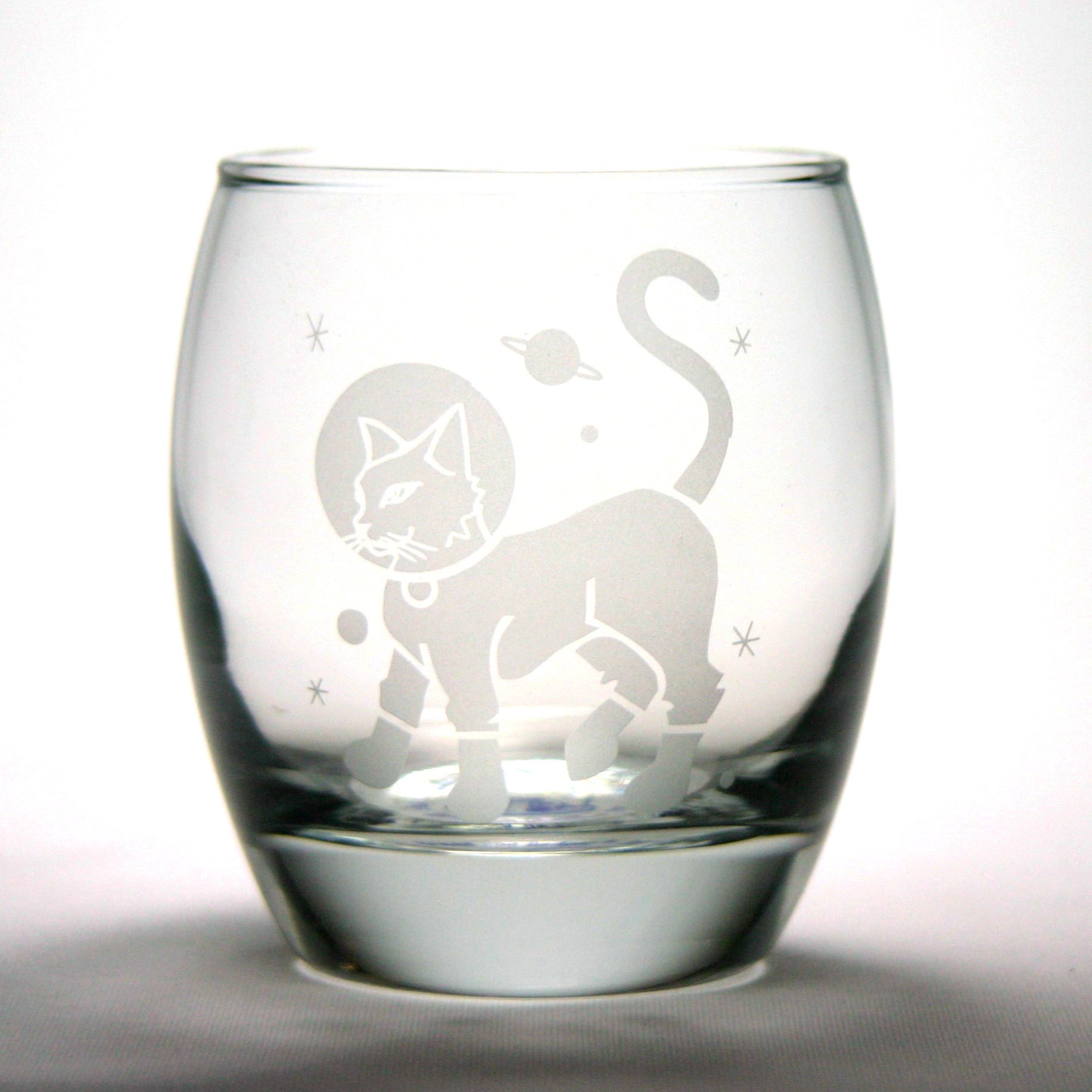 astronaut cat rocks glass