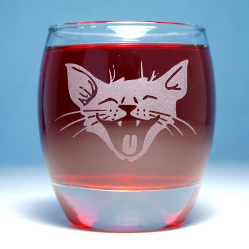 laughing cat rocks glass
