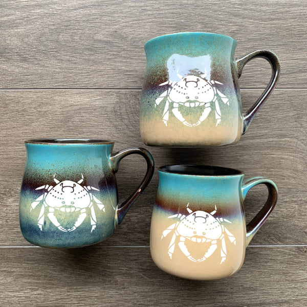 Crab Mugs in Lakeshore Teal by Bread and Badger
