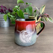 Hummingbird rustic mug in fiery sunset red