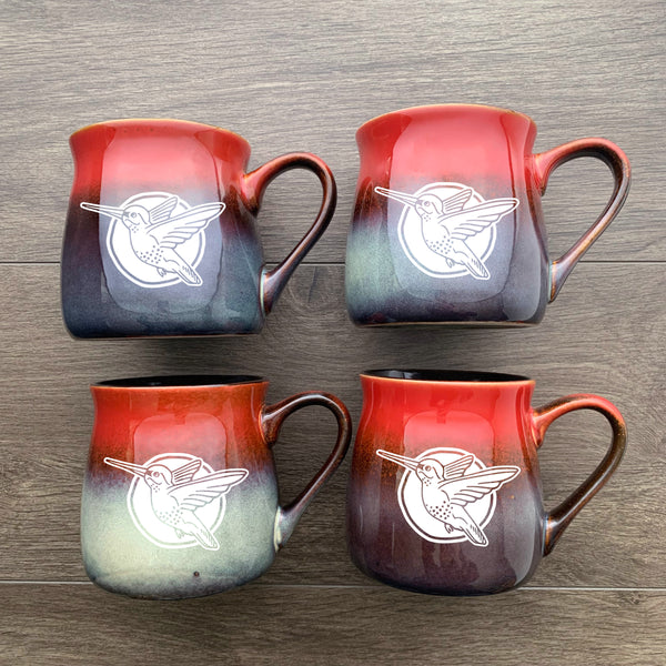 Hummingbird rustic mugs in fiery sunset red