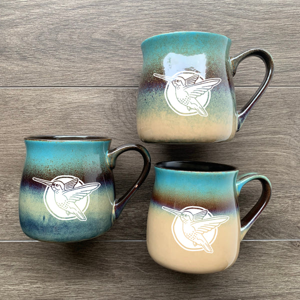 Hummingbird rustic mugs in lakeshore teal blue/beige