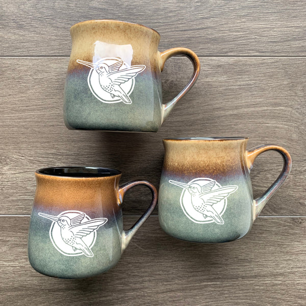 Hummingbird rustic mug in painted desert brown