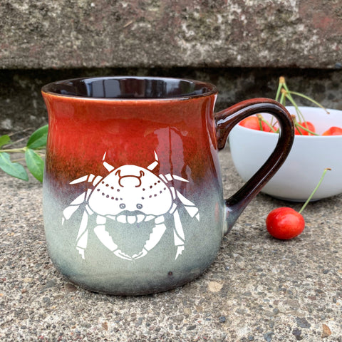 Crab Mugs in Fiery Sunset red by Bread and Badger