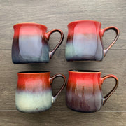 Fiery Sunset rustic mugs color range sample