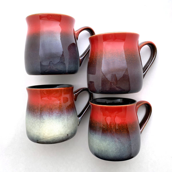 Fiery Sunset Red rustic mugs