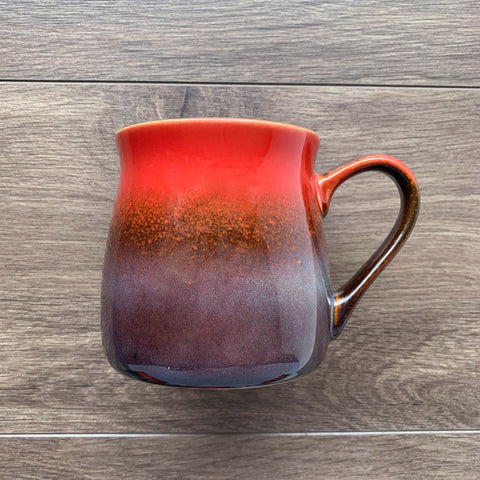 Fiery Sunset Red rustic mug, engraved by Bread and Badger