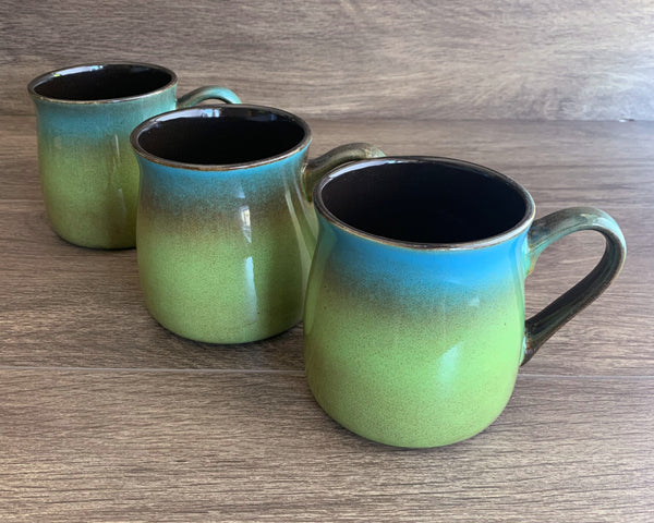 Meadow Green-Blue rustic mugs, engraved by Bread and Badger