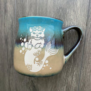 Mermaid Cat Lakeshore teal/beige rustic mug
