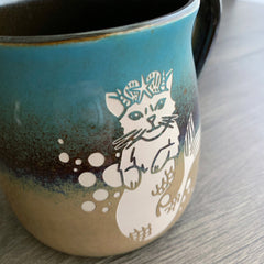 Mermaid Cat Lakeshore rustic mug by Bread and Badger