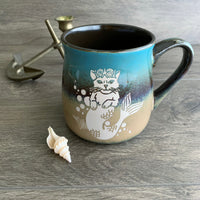 Mermaid Cat Rustic Mug