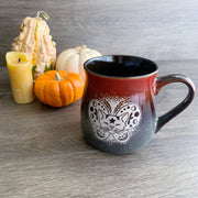 Moth Cat engraved rustic mug in Fiery Sunset Red