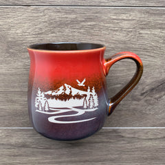 Mt Hood rustic mug in Fiery Sunset