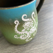 Octopus Cat rustic mug in Meadow blue/green