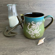 Octopus Cat engraved rustic mug in Meadow blue/green