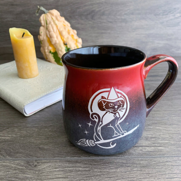 Magic Witch Cat on a broom rustic mug