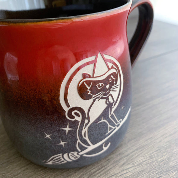 Witch Cat rustic mug in Fiery Sunset red/blue