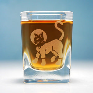 astro cat etched shot glass
