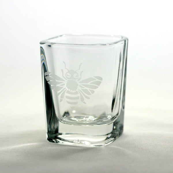 honey bee etched shot glass