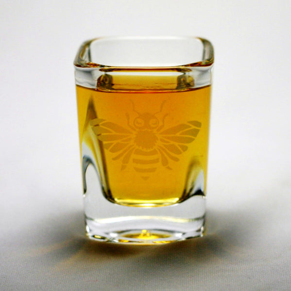 etched honey bee shot glass