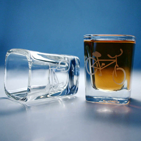 Bicycle shot glass set of 2