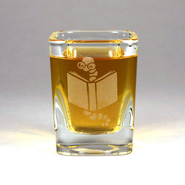 Bookworm shot glass by Bread and Badger