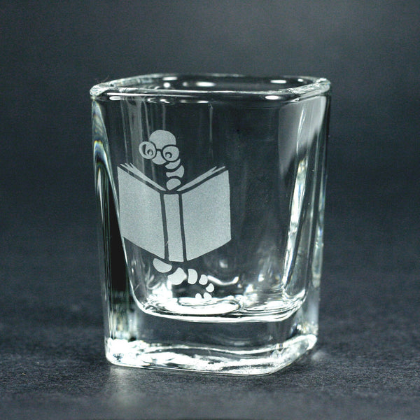 Book worm etched shot glass by Bread and Badger