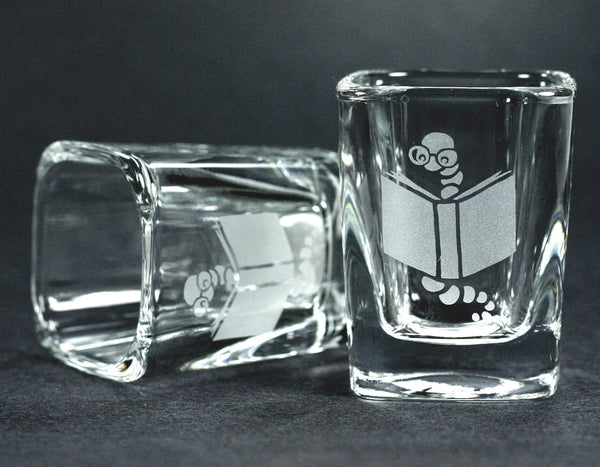 Bookworm shot glasses by Bread and Badger