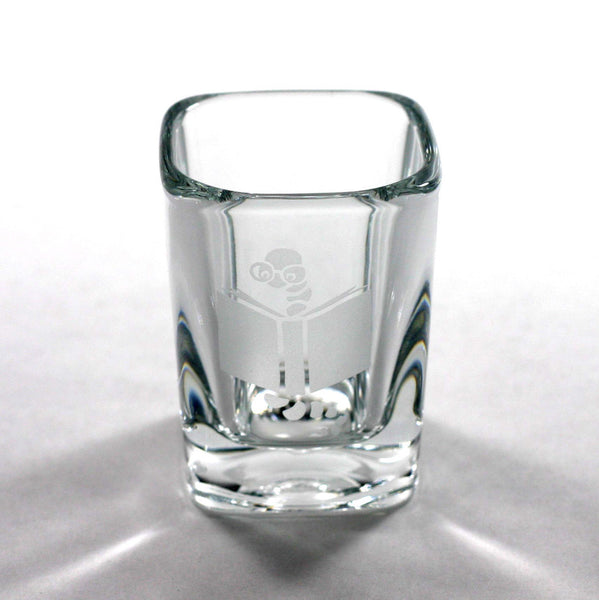 Bookworm etched shot glass by Bread and Badger