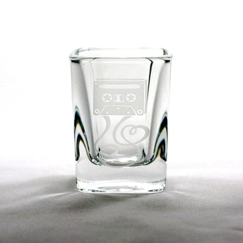 cassette mixtape etched shot glass